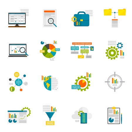 Data analytics computer database structure information analysis flat icons set isolated vector illustration Çizim