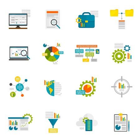 Icone piane dati analytics struttura del database del computer di analisi di informazioni esposte isolato illustrazione vettoriale