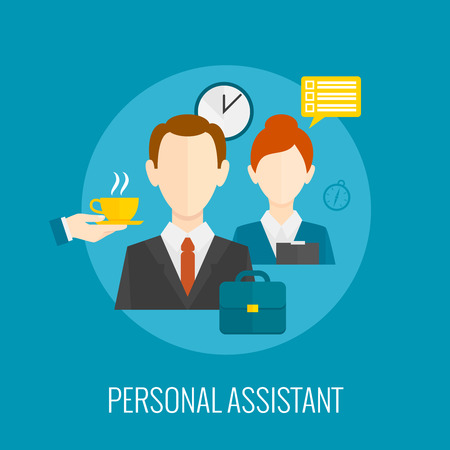 personal assistant: Personal assistant concept with coffee and notes on blue background flat icon vector illustration