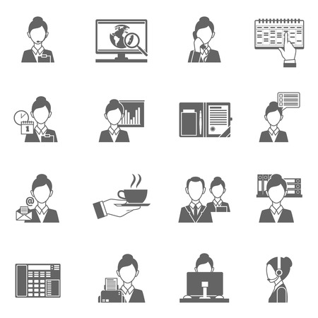 work on computer: Personal assistant black icons set with secretary work symbols isolated vector illustration Illustration