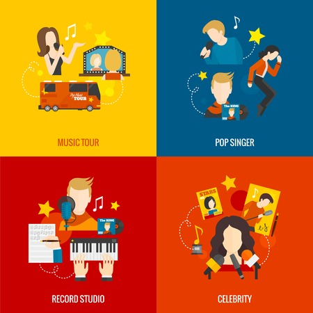 celebrities: Pop singer design concept set with music tour record studio celebrity flat icons isolated vector illustration