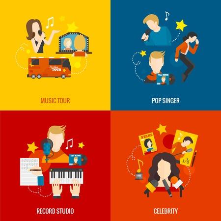 Pop zanger ontwerpconcept set met muziek tour opnemen studio celebrity vlakke pictogrammen geïsoleerd vector illustratie