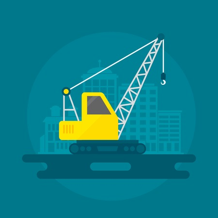 building construction: Lifting crane construction equipment with building on background flat icon vector illustration
