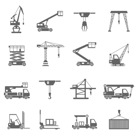 Lifting equipment and heavy industrial machines black icons set isolated vector illustration Ilustracja