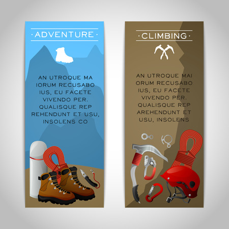 ice axe: Rocky mountain peaks  climbing adventure 2 colorful vertical tourism and alpinism banners set abstract isolated vector illustrations