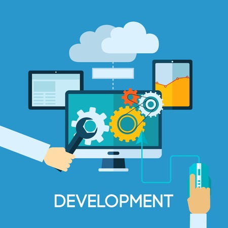 Programm development concept with flat human hand and computer icons vector illustration