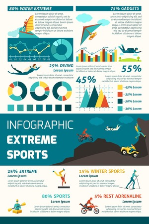 adrenaline: Extreme sports infographics set with adrenaline adventure symbols and charts vector illustration