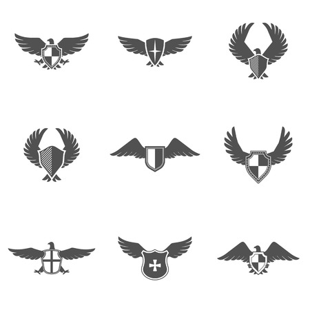 Grey eagle wings and feathers icons with shield set isolated vector illustration Ilustrace