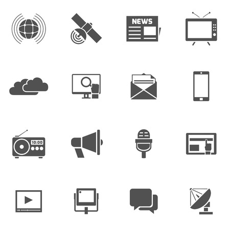 television set: Media black icons set with megaphone newspaper satellite isolated vector illustration