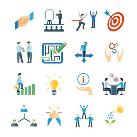 employee development: Mentoring and personal skills development icons flat set isolated vector illustration
