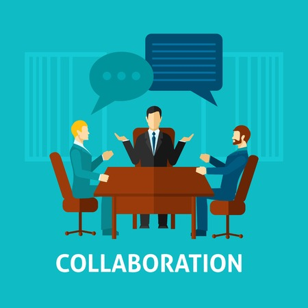 business meeting cartoon: Flat collaboration icon with businessmen in office talking about projects vector illustration