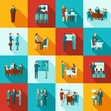maestra ense�ando: Formaci�n empresarial iconos conjunto plana con presentaci�n y seminario para trabajadores s�mbolos aislados ilustraci�n vectorial