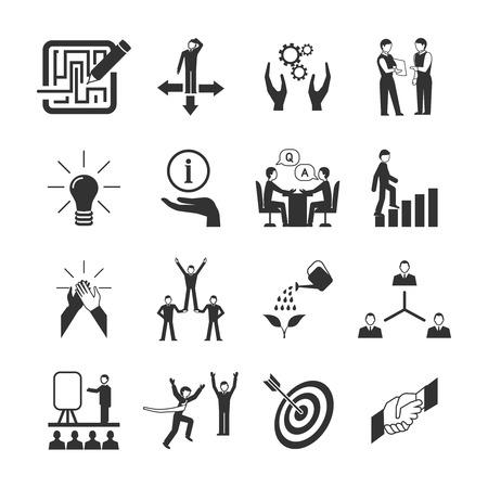 icono deportes: Mentoring iconos negros fijados con s�mbolos de orientaci�n del trabajo en equipo meta aislado ilustraci�n vectorial