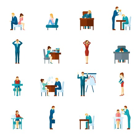 upset man: Depression and frustration at work and home flat icons set isolated vector illustration Illustration