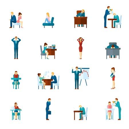 simbolo uomo donna: La depressione e la frustrazione sul lavoro e casa piatto set di icone, illustrazione vettoriale Vettoriali