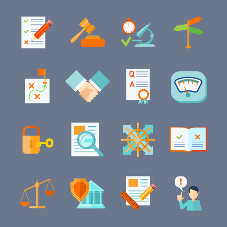quality check: Legal compliance deal protection and copyright regulation flat icons set isolated vector illustration Illustration