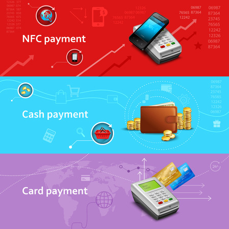 Payment horizontal banners set with realistic cash and card elements isolated vector illustration