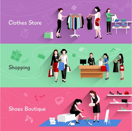 clothes: Woman shopping horizontal banner set with clothes and shoes store elements isolated vector illustration Illustration