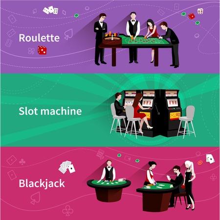 tragamonedas: Las personas en el casino banner horizontal establecen con los elementos de máquina tragaperras blackjack ruleta aislado ilustración vectorial Vectores