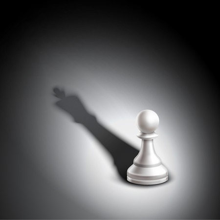 pawn to king: Realistic chess pawn casting king winner strategy metaphor vector illustration Illustration