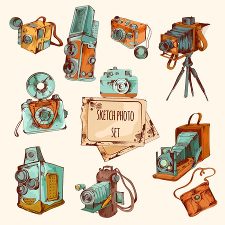 tripods: Sketch photo colored set with vintage camera equipment isolated vector illustration