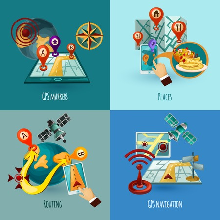 routing: Navigation design concept set with gps markers places routing cartoon icons isolated vector illustration