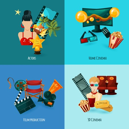 a cartoon film: Cinema design concept set with actors film production cartoon icons isolated vector illustration