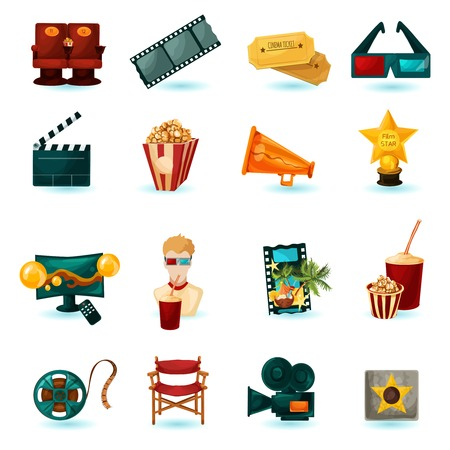 Cinema cartoon icons set with 3d glasses film reel popcorn isolated vector illustration