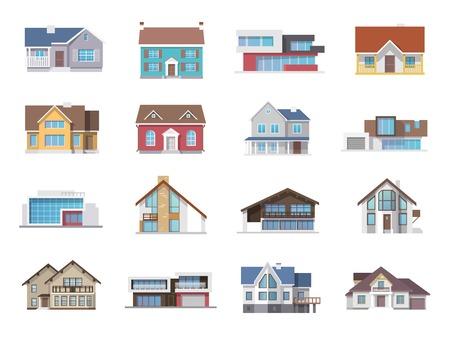 case colorate: Casa di citt� cottage e assortito costruzione immobiliare icone piane insieme isolato illustrazione vettoriale