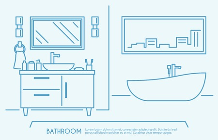 plumbing accessories: Bathroom furniture outline poster with luxury bath bowl and shelves vector illustration