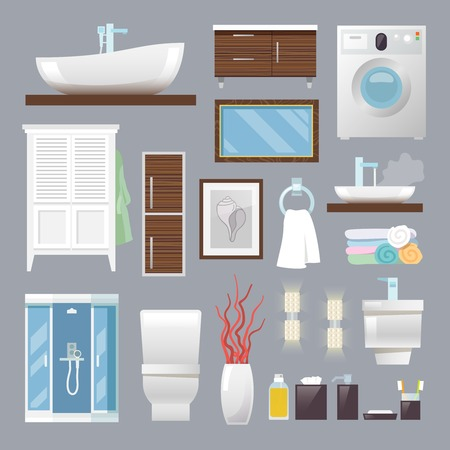 Bathroom furniture flat icons set with sink toilet bowl towels isolated vector illustration Çizim