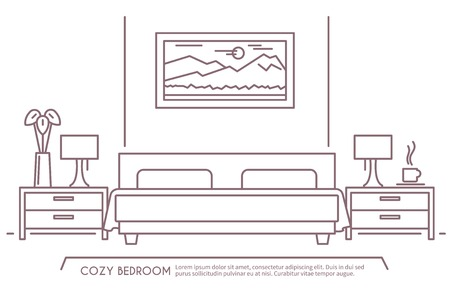 shui: Home and hotel bedroom interior with comfortable furniture outline vector illustration Illustration