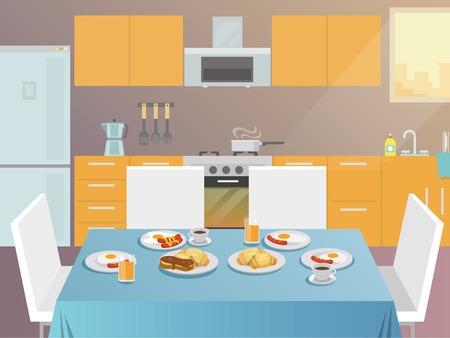 colazione: Tavolo con prima colazione cibi e bevande serviti piatta illustrazione vettoriale