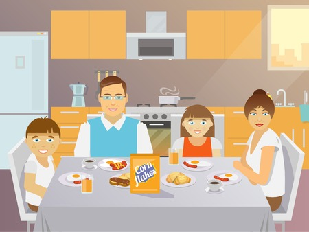 cereal box: Pretty father mother son and daughter family eating breakfast indoors kitchen flat vector illustration