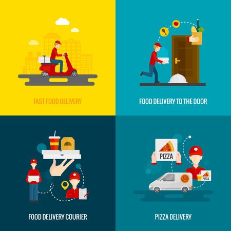 Food delivery fast to the door and by courier flat icons set isolated vector illustration Illustration