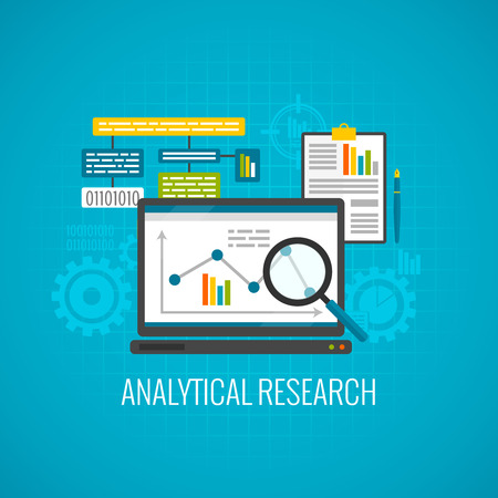 research paper: Data and analytical research concept with laptop and magnifying glass icon flat vector illustration Illustration