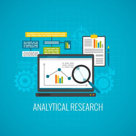 lupa: Datos y concepto de la investigación analítica con ordenador portátil y icono de la lupa ilustración vectorial plana