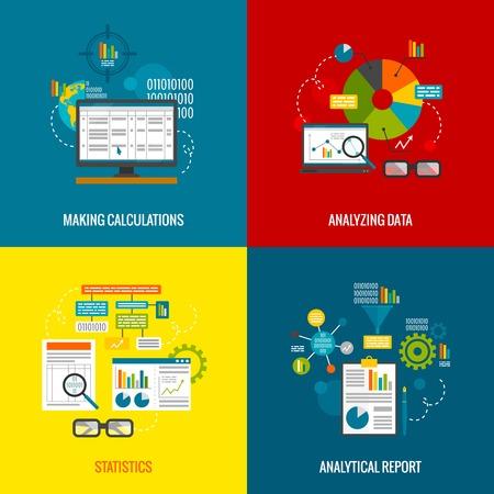 informe: Análisis de datos concepto de diseño con hacer cálculos estadísticas e iconos planos informe analítico conjunto aislado ilustración vectorial