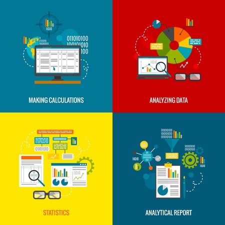 management process: Data analytics design concept with making calculations statistics and analytical report flat icons set isolated vector illustration