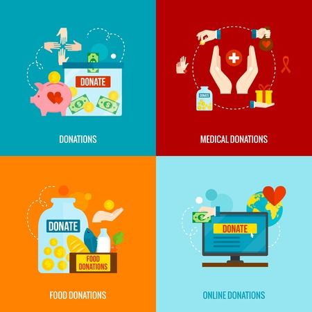 volunteer: Charity design concept set with food and medical donations flat icons isolated vector illustration