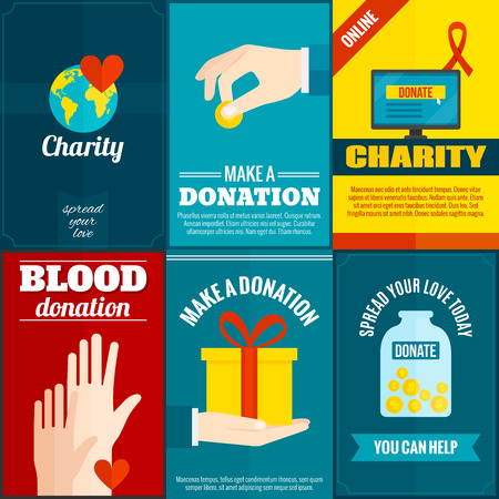 Charity mini posters set with money and blood donation flat isolated vector illustration Illustration