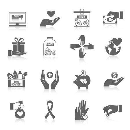Charity icon black set with philanthropist community teamwork symbols isolated vector illustration