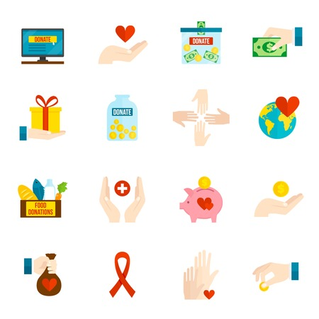 Liefdadigheid en opluchting vrijwilliger hulp iconen platte set geïsoleerd vector illustratie