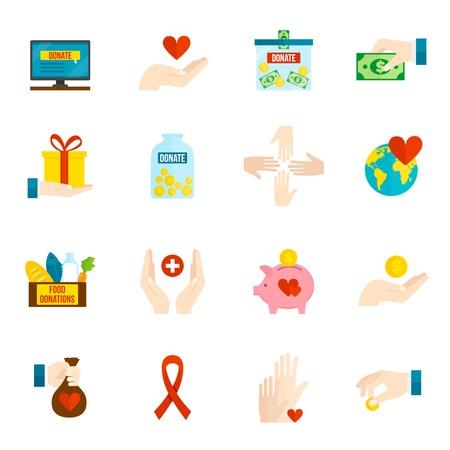Liefdadigheid en opluchting vrijwilliger hulp iconen platte set geïsoleerd vector illustratie Stockfoto - 40458503