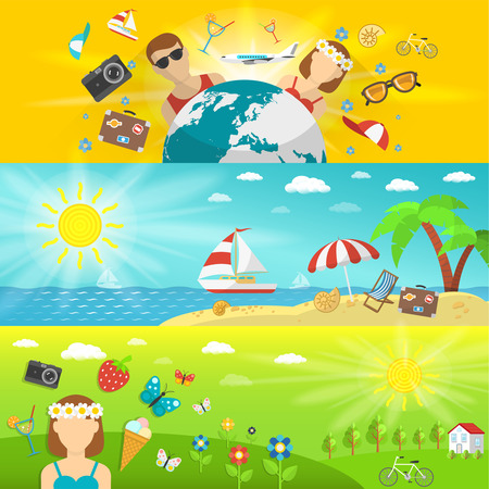beach butterfly: Summer vacations and travel with seaside forest and fields horizontal banners set flat isolated vector illustration