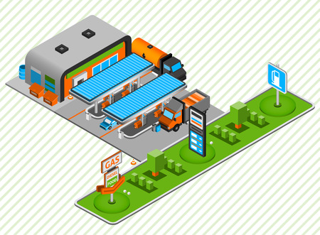 Gasoline and diesel power fuel plastic construction toy station with food shop isometric composition abstract vector illustration Illustration