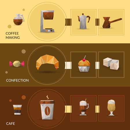 glasse: Coffee making and confectionery polygonal horizontal banner set isolated vector illustration
