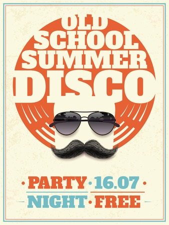 summer school: Old school summer disco retro poster with hipster moustache and aviator sunglasses with reflection vector illustration