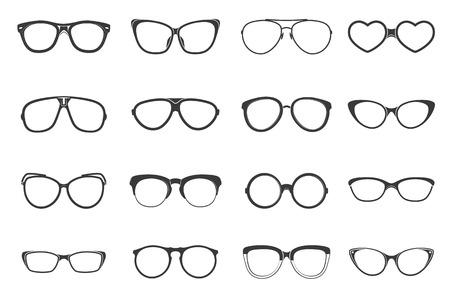 wayfarer: Eyeglasses fashion accessory flat black icons set isolated vector illustration