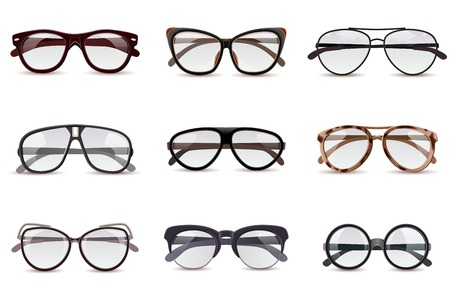 Realistic modern fashion eyeglasses assortment decorative icons set isolated vector illustration Illustration